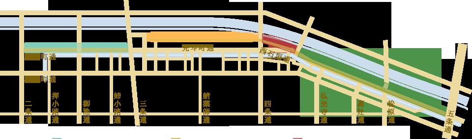 鴨川納涼床エリア地図